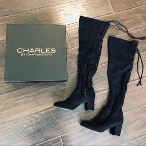 Charles David Black Lace Up Over The Knee Boots